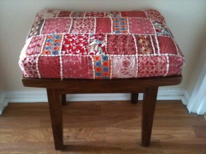 Quilt covered foot stool