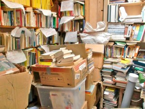 overfilled book storage room