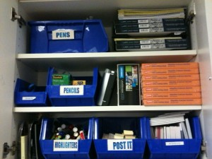 labeled office supply bins