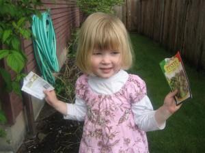 girl with seed packets