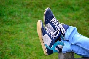 feet up in sneakers