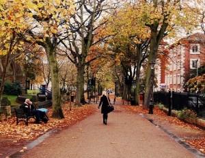 woman walking in city