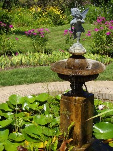 fountain bubbling in garden