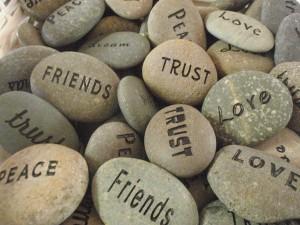 words on stones