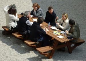 Picnic tables outside