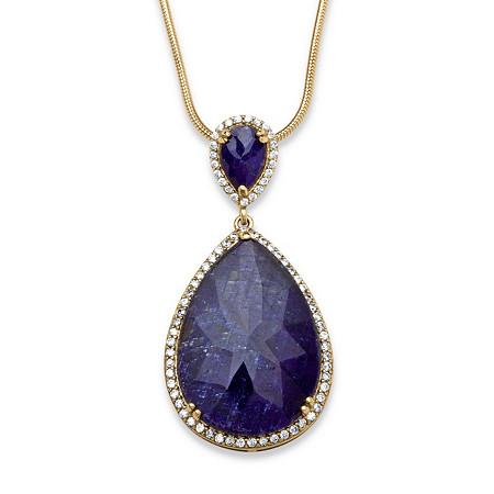 sapphire and cz pendant