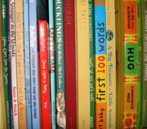 childrens books on shelf