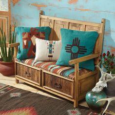 southwestern pillows on bench