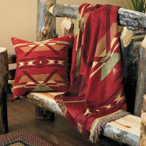 Southwestern blanket on bench