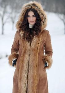 woman wearing fake fur coat