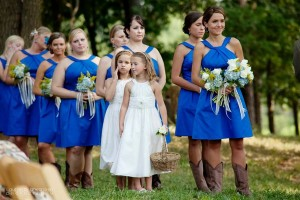 wedding party wearing blue dresses