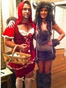 couple in bad halloween costumes