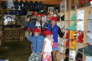 family in lobster hats