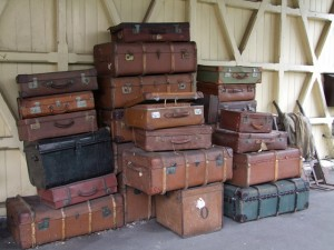 pile of old luggage