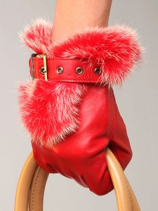 orange winter gloves