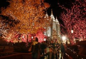 Christmas lights tat Temple Square