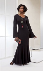black bell sleeved gown