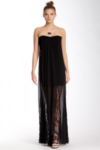 sheer bottom black evening gown
