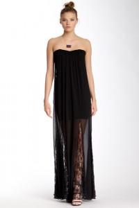 sheer bottom black evening gown