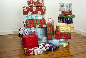 pile of Christmas presents