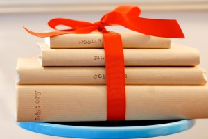 books wrapped in paper