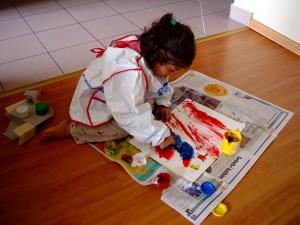 child finger paper
