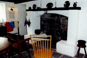 cottage keeping room with fireplace