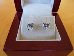 diamond earrings in box