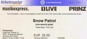 snow patrol concert ticket