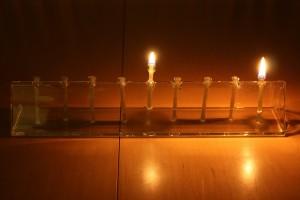 first night of Hanukkah menorah