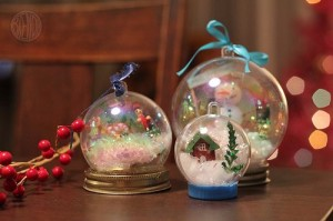 snowglobes on shelf