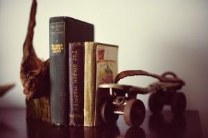 old roller skate on bookshelf