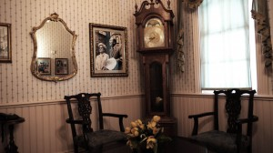 waiting room with clock