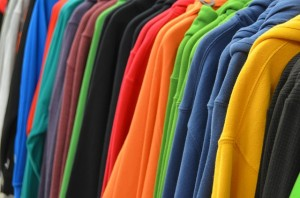 rack of sweatshirts