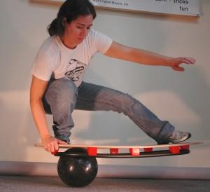 woman on balance board