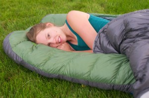 woman in sleeping bag