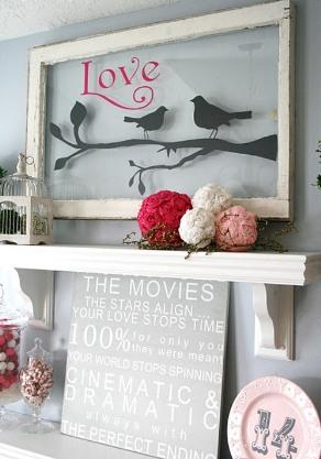 valentines day fireplace decoration