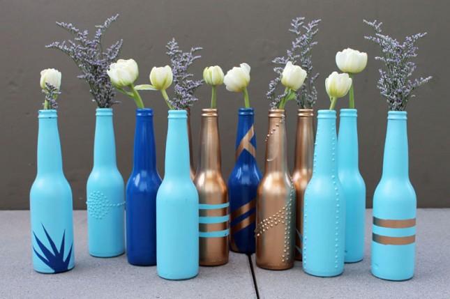 beer bottle flower vase DIY