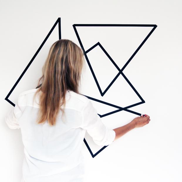 masking tape wall design DIY