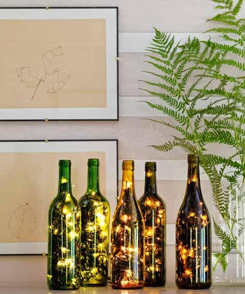 wine bottle lights DIY