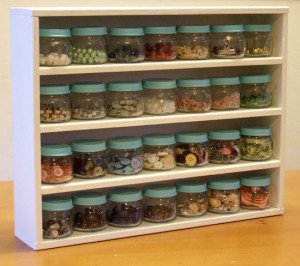 glass jars of craft supplies