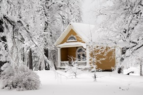 house in winter with snow