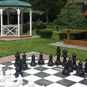 An outdoor chess set