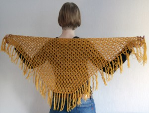 Woman with crocheted shawl