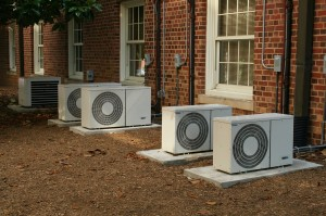 Air conditioners at townhouses