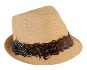 feather trim on spring hat