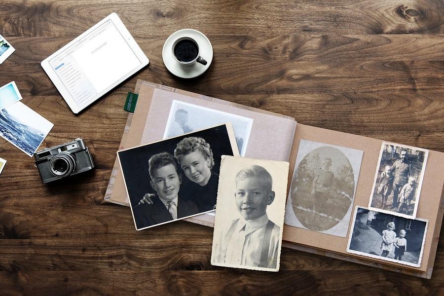 scrapbook with photos