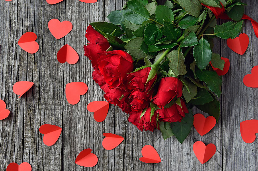Roses and Red Paper Hearts