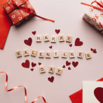 """Scrabble Tiles used to Write """"Happy Valentines Day"""""""