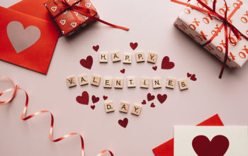 "Scrabble Tiles used to Write ""Happy Valentines Day"""